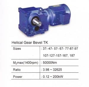 HELICAL BEVEL GEARBOX TYPE TK