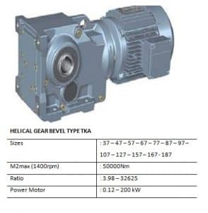 HELICAL BEVEL GEARBOX TYPE TKA